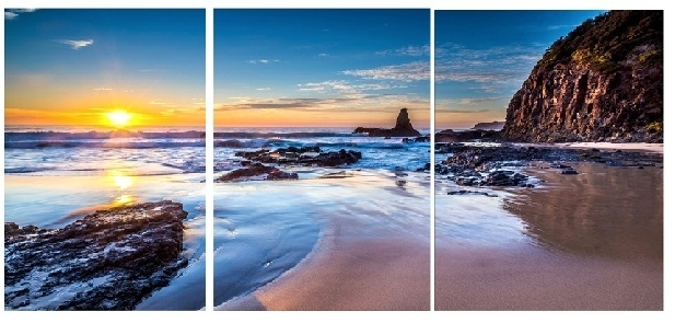 Sunset Beach  Modern Canvas Art Wall Decor Landscape Canvas Prints Within Landscape Canvas Wall Art (Photo 7 of 15)