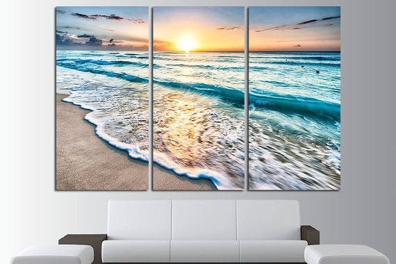 Sunset Beach Wall Art Tropical Print Ocean View Beach Canvas In Beach Canvas Wall Art (Image 10 of 15)