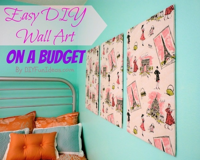 Super Easy Fabric Panel Diy Wall Art On A Budget – Do It Yourself Within Diy Fabric Covered Wall Art (Image 13 of 15)