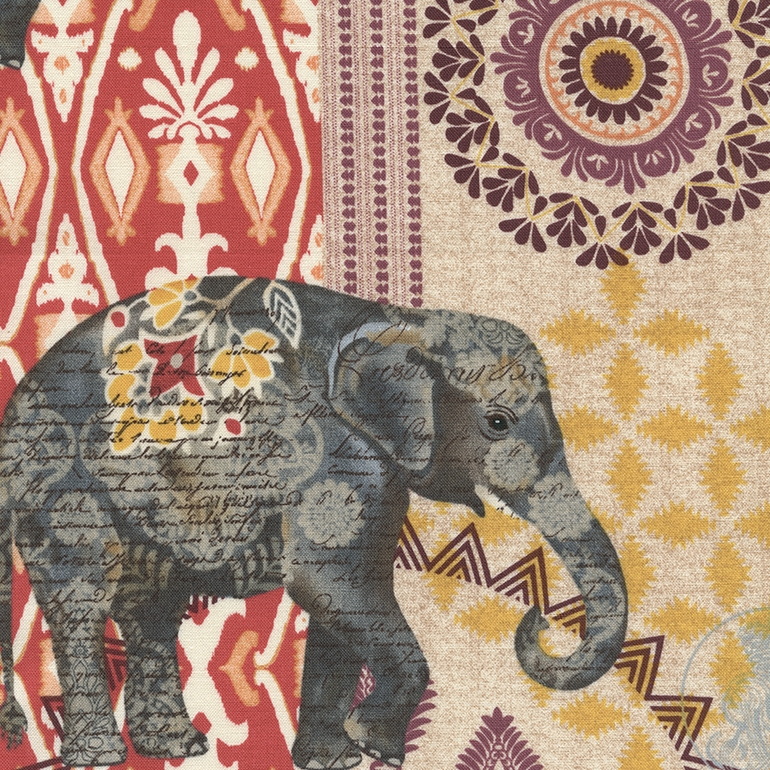 Suzani Elephant Caravan Fabric India Batik Collage Print Boho Within Elephant Fabric Wall Art (View 4 of 15)