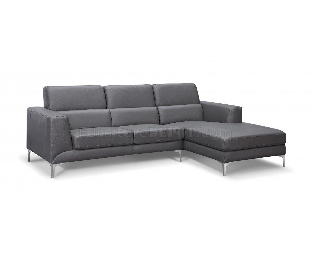 Sydney Sectional Sofa In Gray Faux Leatherwhiteline Regarding Sydney Sectional Sofas (Image 9 of 10)