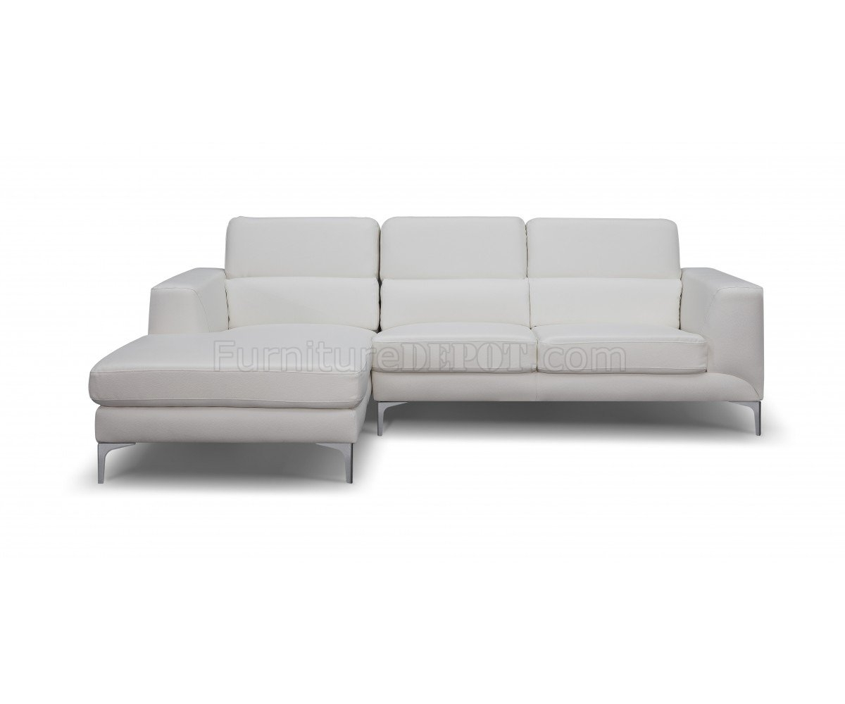 Sydney Sectional Sofa In White Faux Leatherwhiteline With Regard To Sydney Sectional Sofas (Image 10 of 10)