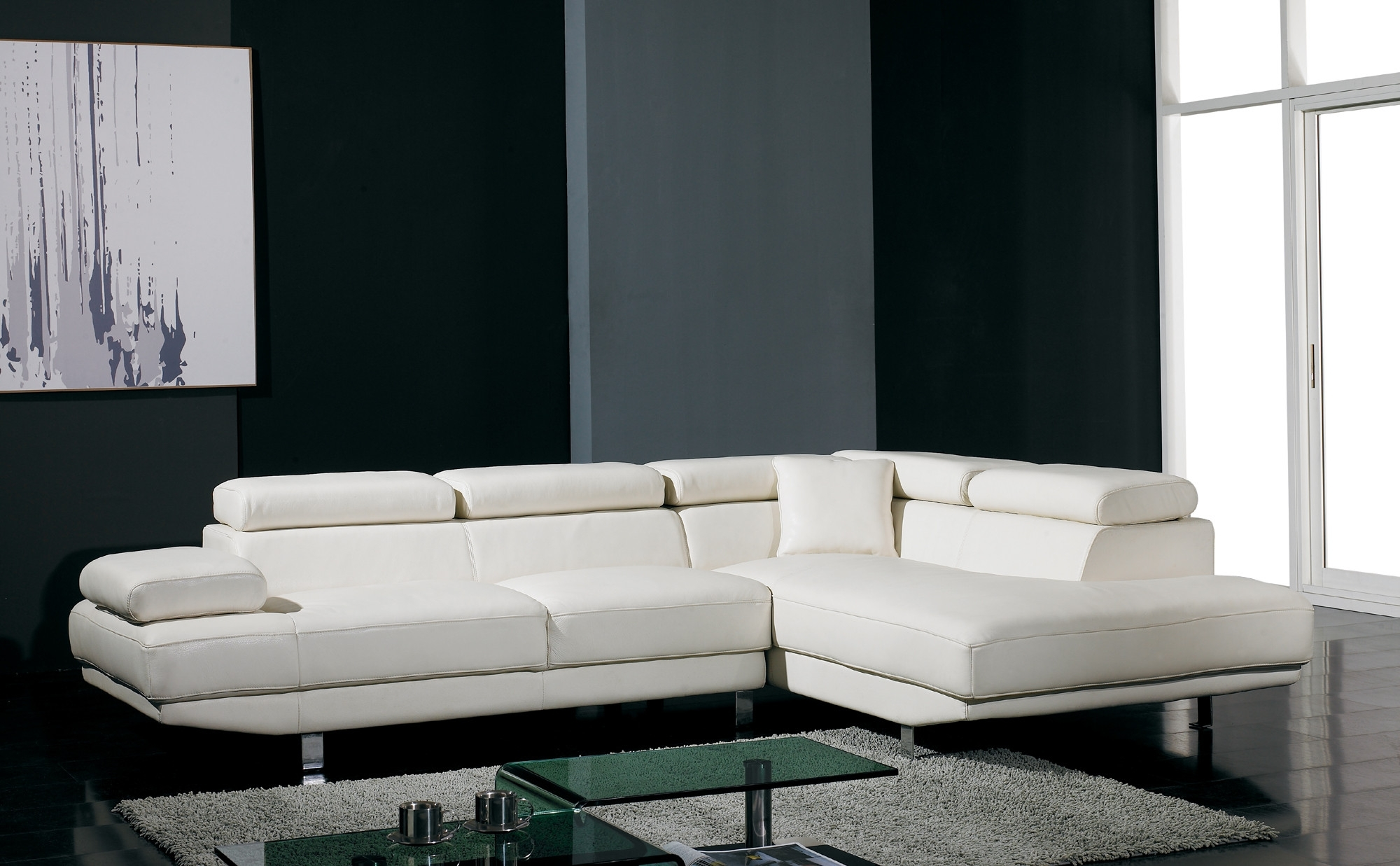 T60 Ultra Modern White Leather Sectional Sofa Intended For Modern Sectional Sofas (Image 10 of 10)