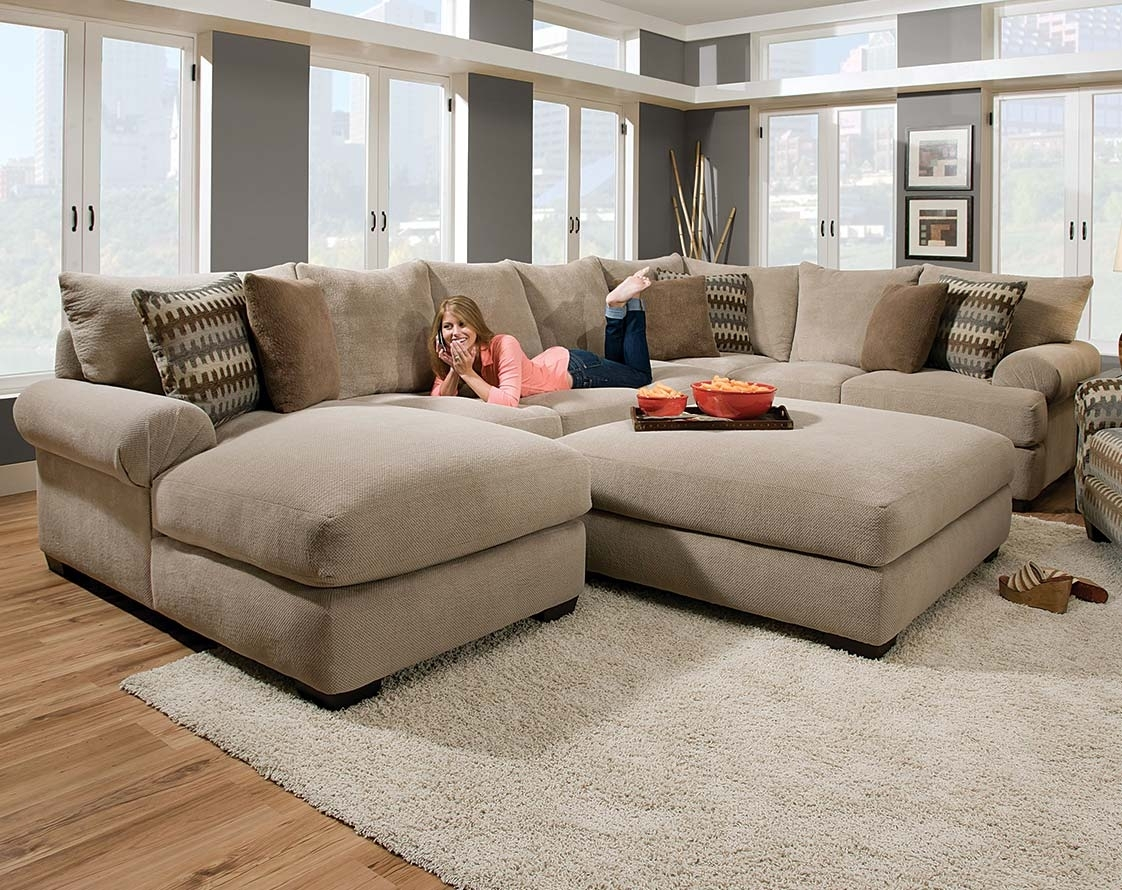 Tan Couch Set With Ottoman | Bacarat Taupe 3 Piece Sectional Sofa For Sectionals With Oversized Ottoman (Image 10 of 10)