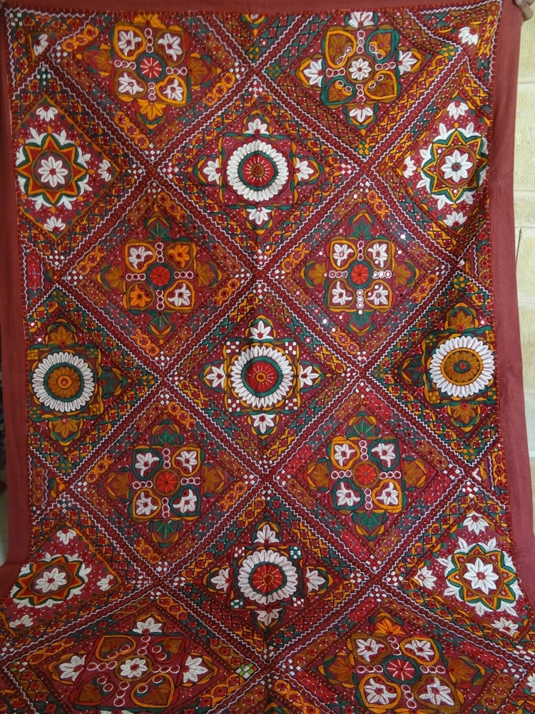 Tapestry Antique Indian Handmade Embroidered Patchwork Wall Within Handmade Textile Wall Art (Image 12 of 15)
