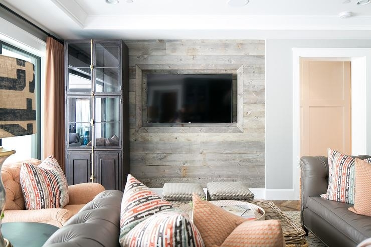 Taupe And Orange Living Room With Barn Board Tv Wall – Country Inside Wall Accents Behind Tv Or Couch (View 3 of 15)