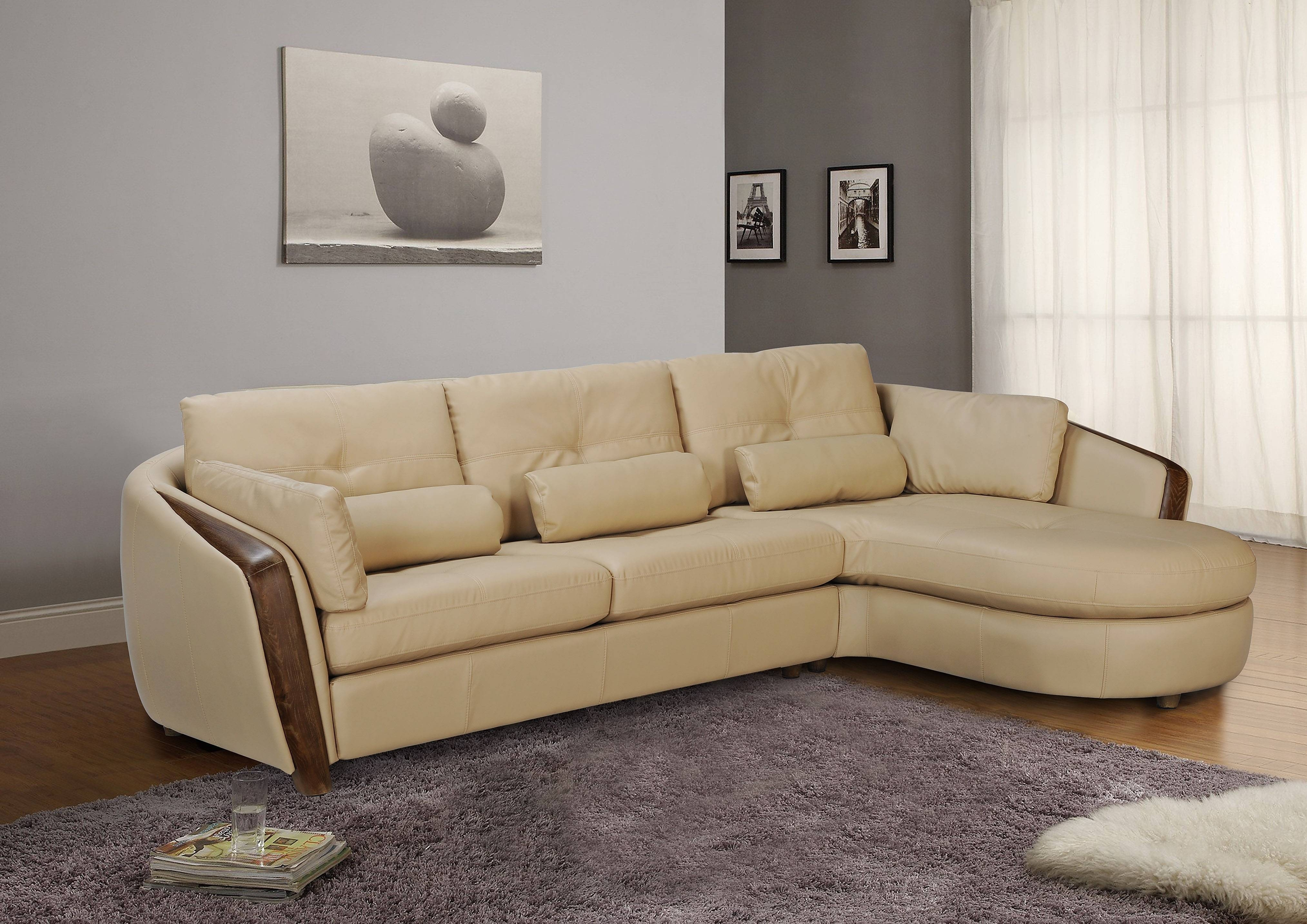 Taupe Bonded Leather Sectional Sofa With Ash Wood Accent Baltimore Intended For Ontario Sectional Sofas (Image 10 of 10)