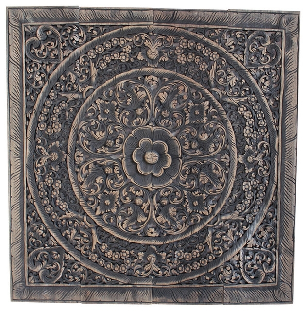 """Teak Carved Panel, 48"""" – Asian – Wall Accents  Design Mix For Asian Wall Accents (Image 13 of 15)"""