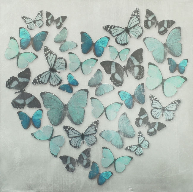 Teal Blue Metallic Butterfly Love Heart Canvas Wall Art Picture 57 With Regard To Duck Egg Canvas Wall Art (View 4 of 15)