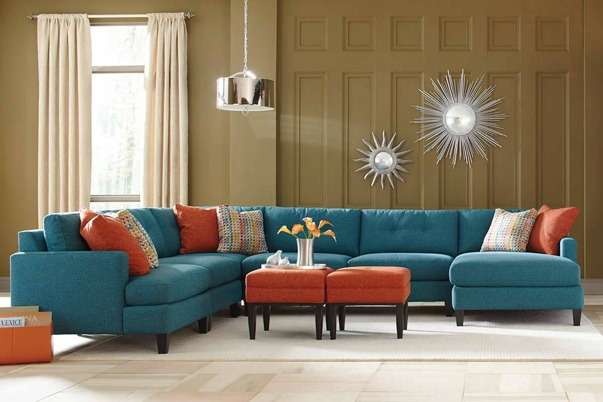 Teal Color Custom Sectional Sofa, Made In The Usa Los Angeles Within Customizable Sectional Sofas (Image 8 of 10)