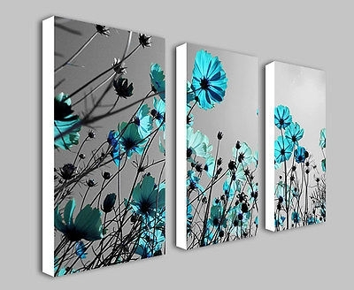 Teal Flowers Floral Split Panel Deep Framed Canvas Wall Art Print Within Duck Egg Canvas Wall Art (View 8 of 15)