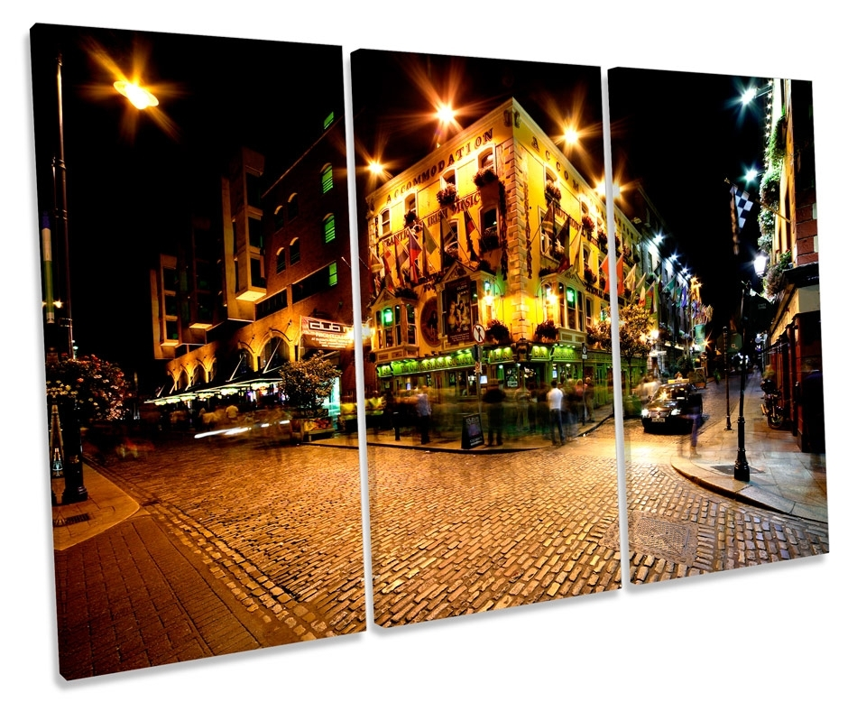 Temple Bar Ireland Dublin Canvas Wall Art Triple Box Frame Print With Regard To Dublin Canvas Wall Art (View 12 of 15)