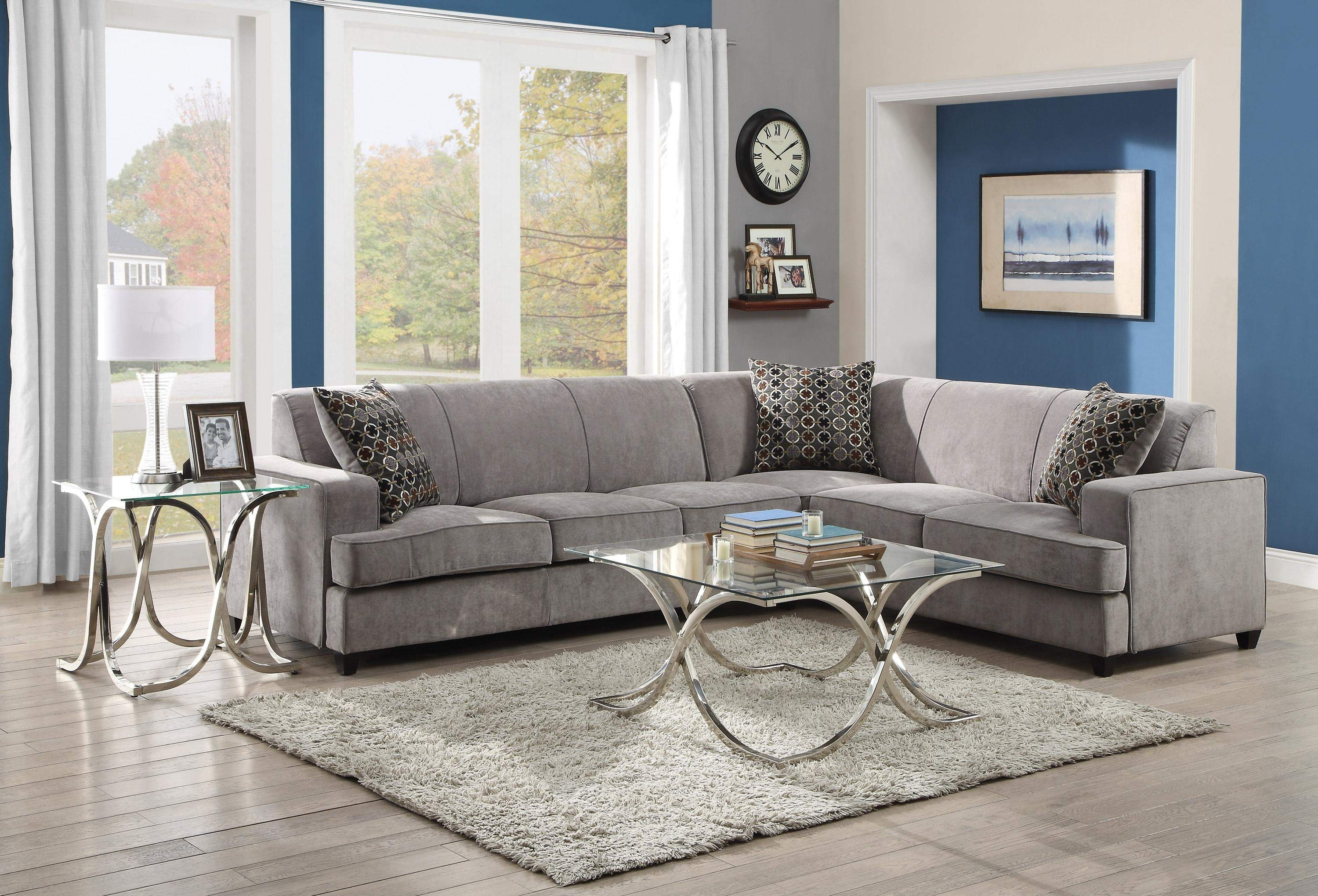 Tess Casual Grey Fabric Sectional Sofa For Corners With Queen Size For Philadelphia Sectional Sofas (Image 9 of 10)