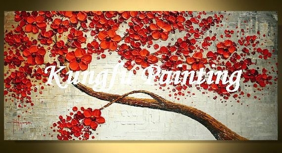 Tex1091 Handmade Palette Knife Painting Texture Tree Wall Art Oil In Fabric Painting Wall Art (View 2 of 15)