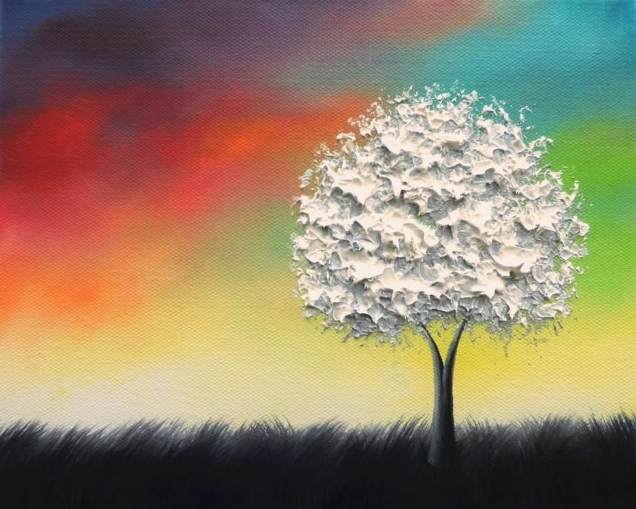 Textured White Tree Painting, Black And White Art, Colorful Inside Rainbow Canvas Wall Art (View 10 of 15)