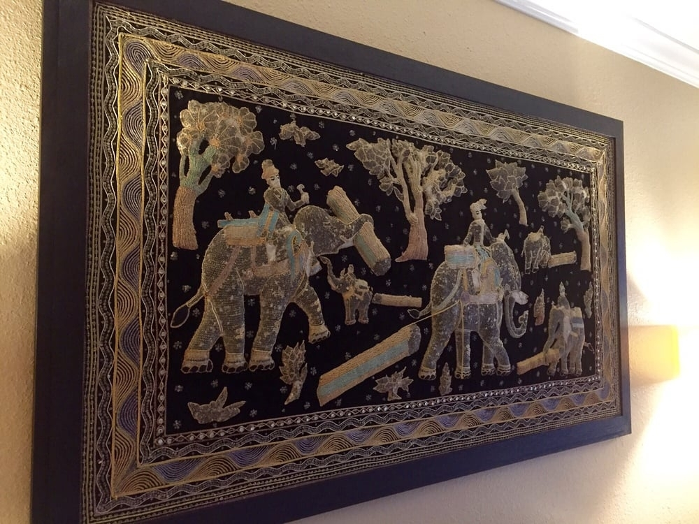 Thai Elephant Tapestry (Fabric With Embroidered Figures), Framed Pertaining To Thai Fabric Wall Art (Image 11 of 15)