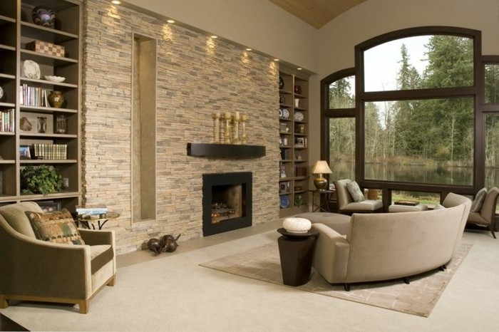 The Ambience Effect Living Room Samples Stone Wall Stones On Black With Regard To Fireplace Wall Accents (View 15 of 15)
