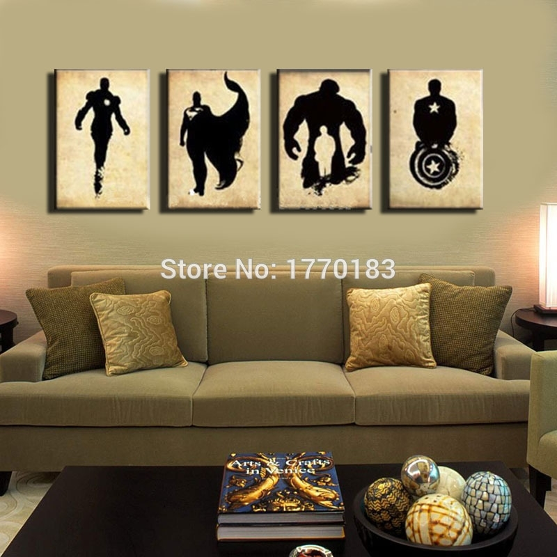 The Avengers! Abstract Handpainted Black Canvas Poster Painting With Regard To Movies Canvas Wall Art (Image 15 of 15)