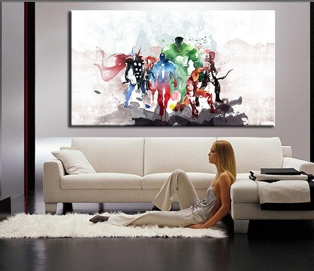 The Avengers Modern Art Canvas Wall Paintings Cuadros Decorativos Regarding Modern Canvas Wall Art (View 3 of 15)