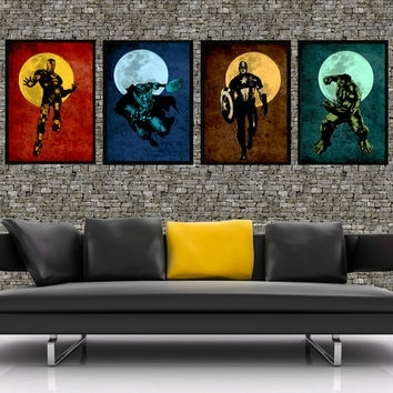 The Avengers – Original Super Hero Minimalist Art Movie Poster Throughout Movies Canvas Wall Art (Image 14 of 15)