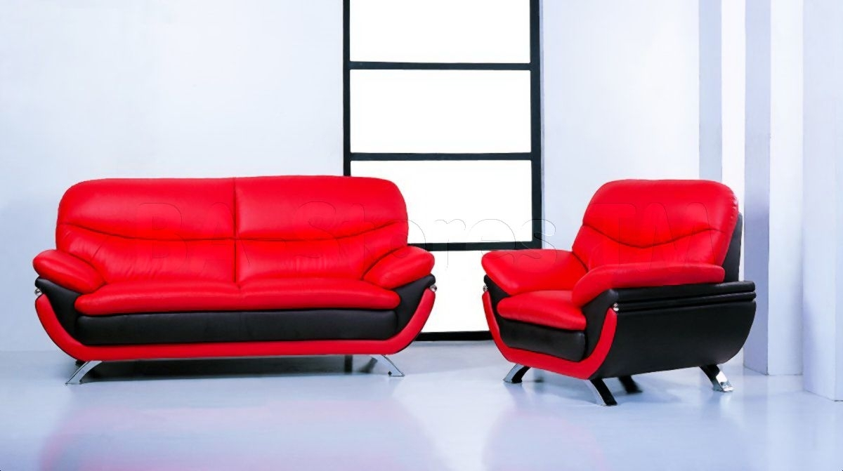 The Best Jonus Sofa And Loveseat Set Black Red Leather Picture For Throughout Red Leather Couches And Loveseats (Image 10 of 10)
