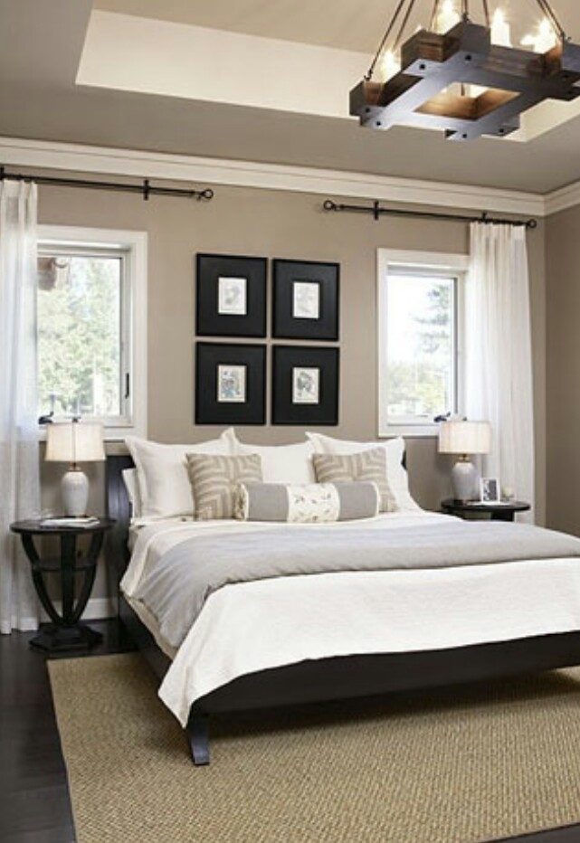 The Cliffs Cottage At Furman | Black Headboard, Neutral Walls And Throughout Wall Accents For Tan Room (Image 15 of 15)