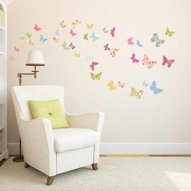 The Colorful Butterflies Wall Stickers | Plant Wall Stickers Regarding Fabric Butterfly Wall Art (Image 12 of 15)