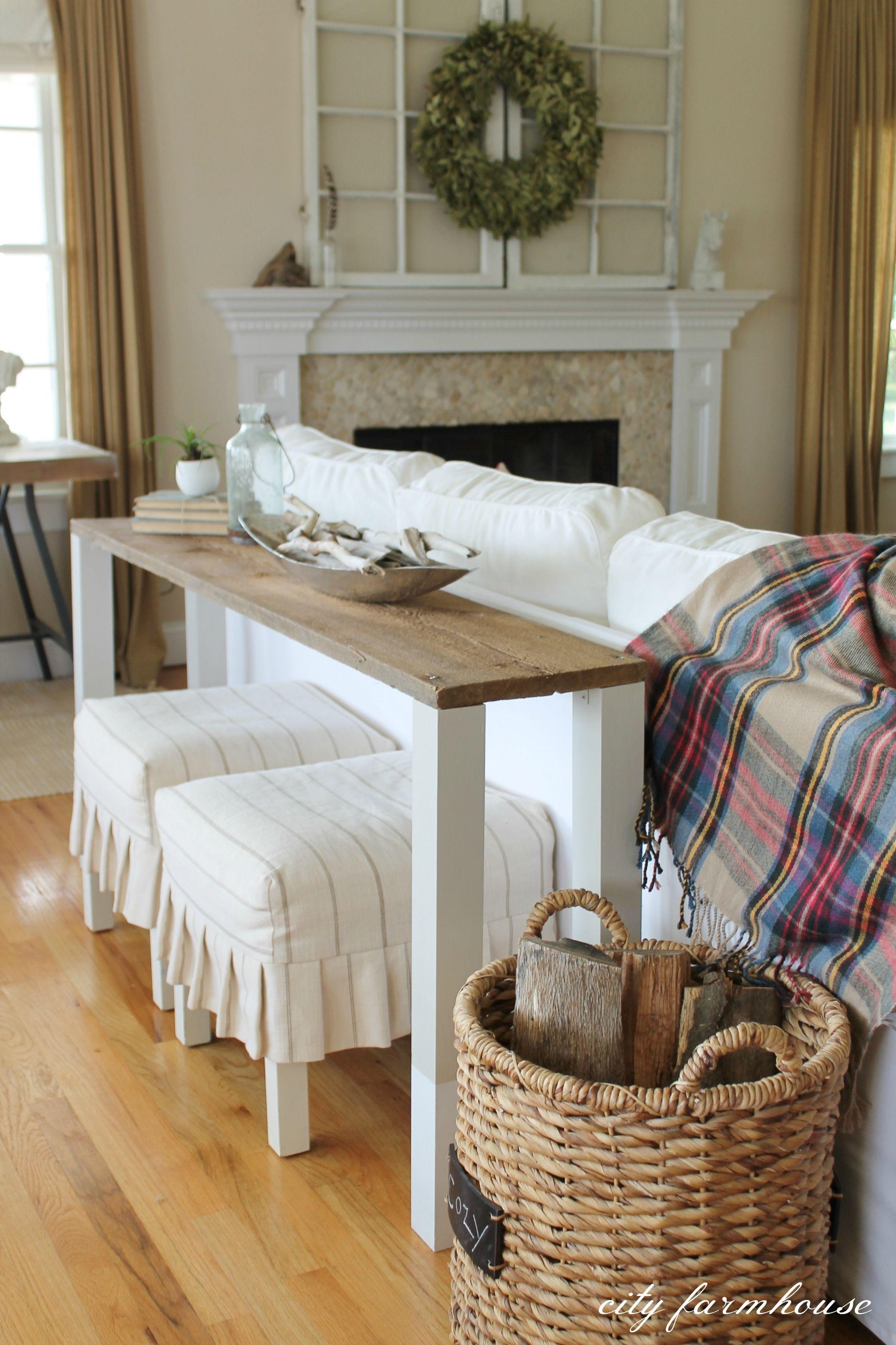 The Easiest Diy Reclaimed Wood Sofa Table | Diy Sofa Table, Diy Sofa Within Sofas With Back Consoles (View 8 of 10)