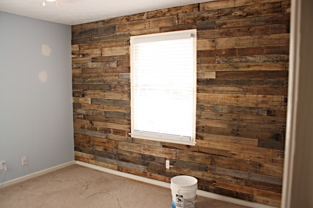 The Homestead Jones: Reclaimed Wood From Pallet For Accent Wall With Garage Wall Accents (View 10 of 15)