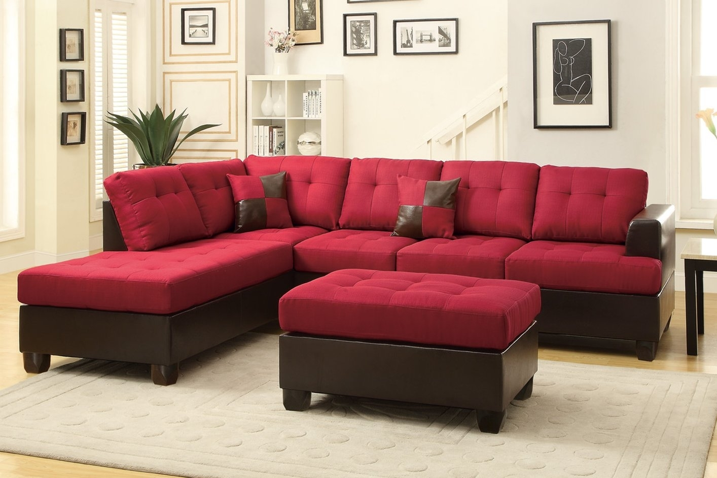 The Most Popular Red And Black Sectional Sofa 31 About Remodel With Regard To Red Black Sectional Sofas (Image 10 of 10)