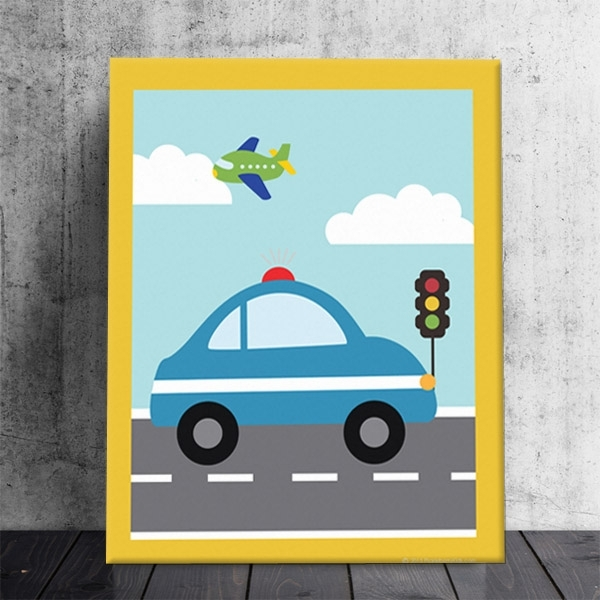 Things That Go Vroom! Boys Theme Kids Police Car Stretched Canvas Inside Cars Theme Canvas Wall Art (Image 12 of 16)