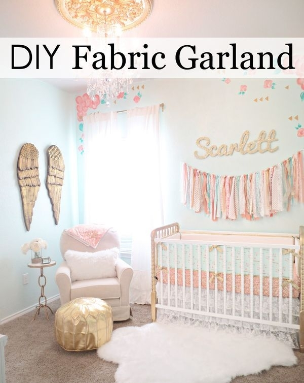 This Is The Easiest Diy Fabric Garland Ever | Fabric Garland Inside Fabric Wall Art For Nursery (View 12 of 15)