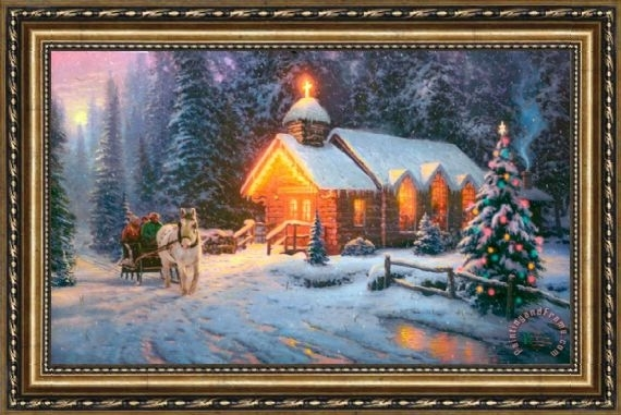 Thomas Kinkade Christmas Chapel I Framed Painting For Sale Pertaining To Christmas Framed Art Prints (View 2 of 15)