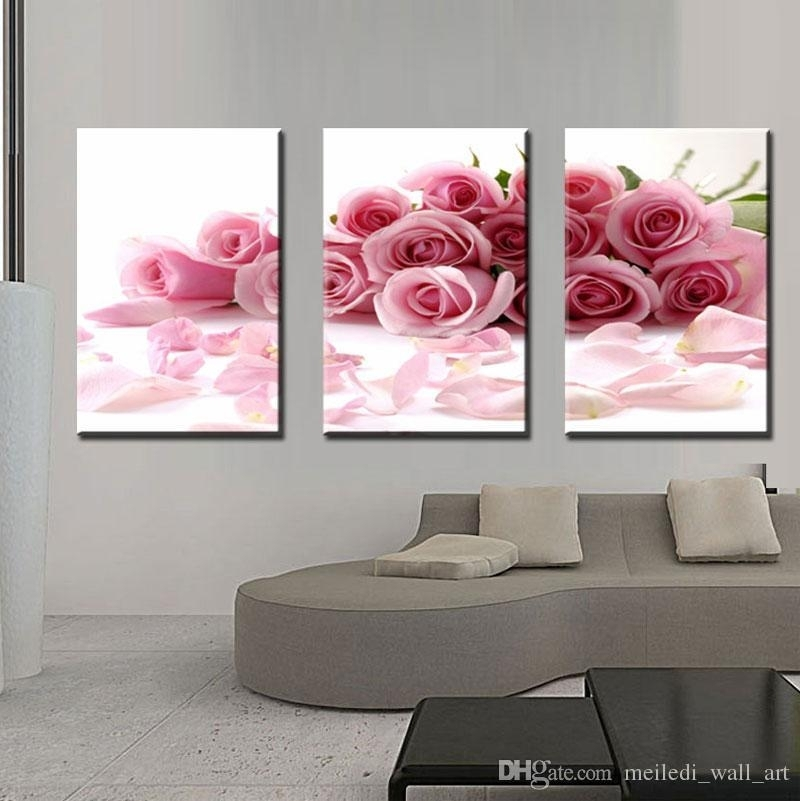 Three Panle Modern Wall Painting Pink Rose Canvas Wall Art Picture Pertaining To Roses Canvas Wall Art (View 10 of 15)