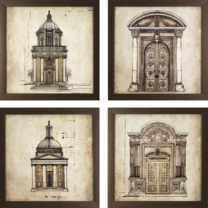 Three Posts European Architectural Prints 4 Piece Framed Graphic Regarding European Framed Art Prints (View 3 of 15)