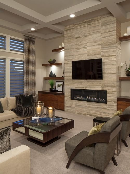 Top 30 Contemporary Living Room Ideas & Designs | Houzz Regarding Wall Accents With Tv (Image 12 of 15)