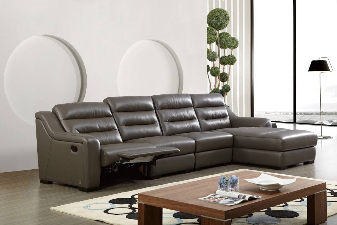 Top Grain Leather Ribbed Sectional Sofa With Recliner San Antonio Pertaining To Sectional Sofas In San Antonio (Image 10 of 10)