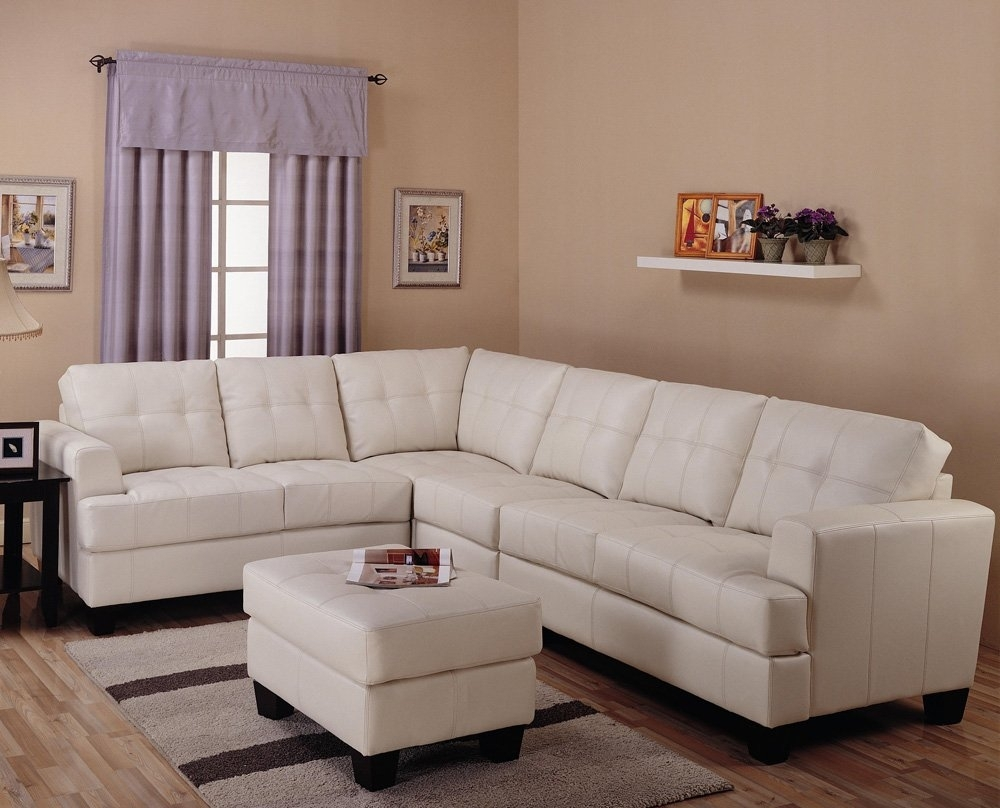 Toronto Tufted Cream Leather L Shaped Sectional Sofatrue Throughout L Shaped Sectional Sofas (View 10 of 10)