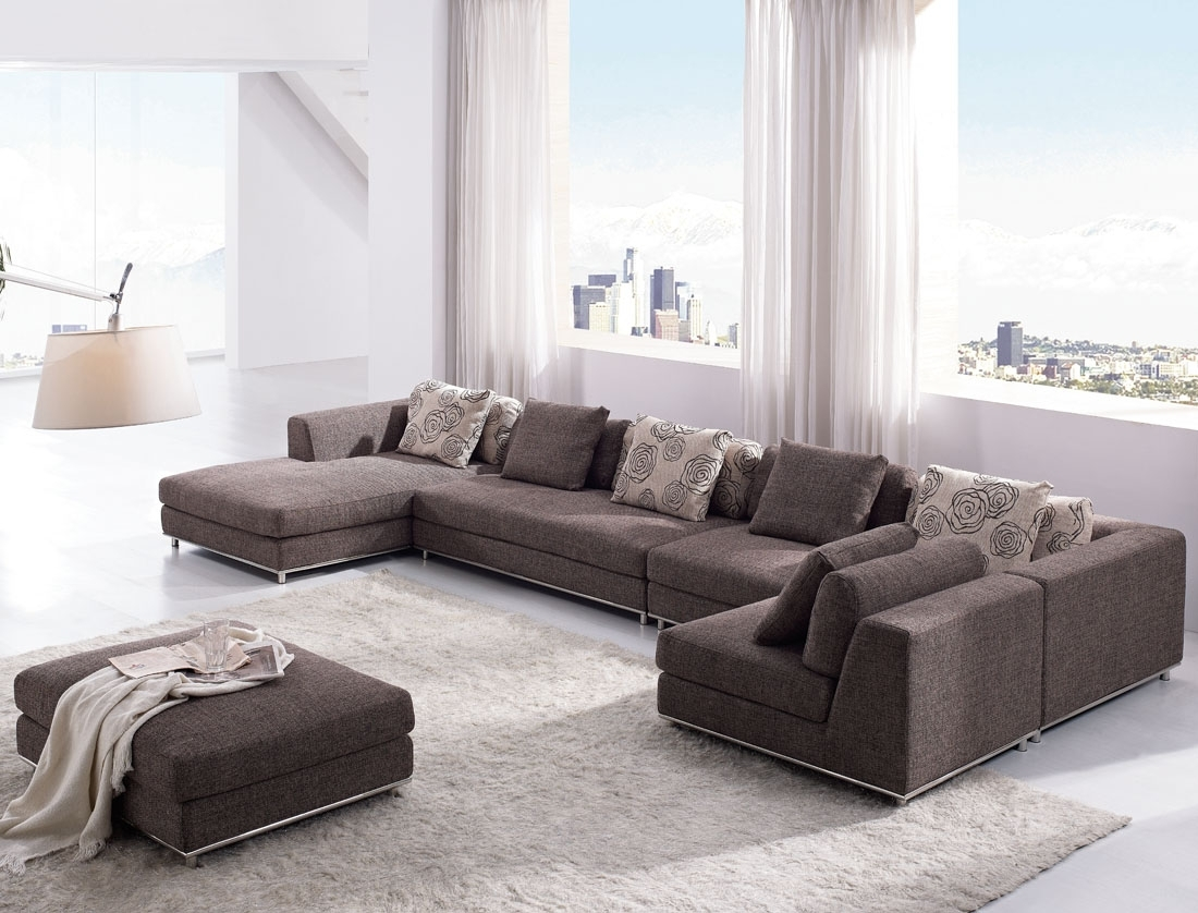 Tosh Furniture Contemporary Modern Brown Fabric Sectional Sofa Regarding On Sale Sectional Sofas (View 5 of 10)