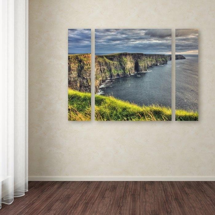 Trademark Art 'cliffs Of Moher Ireland'pierre Leclerc 3 Piece In Ireland Canvas Wall Art (Image 11 of 15)