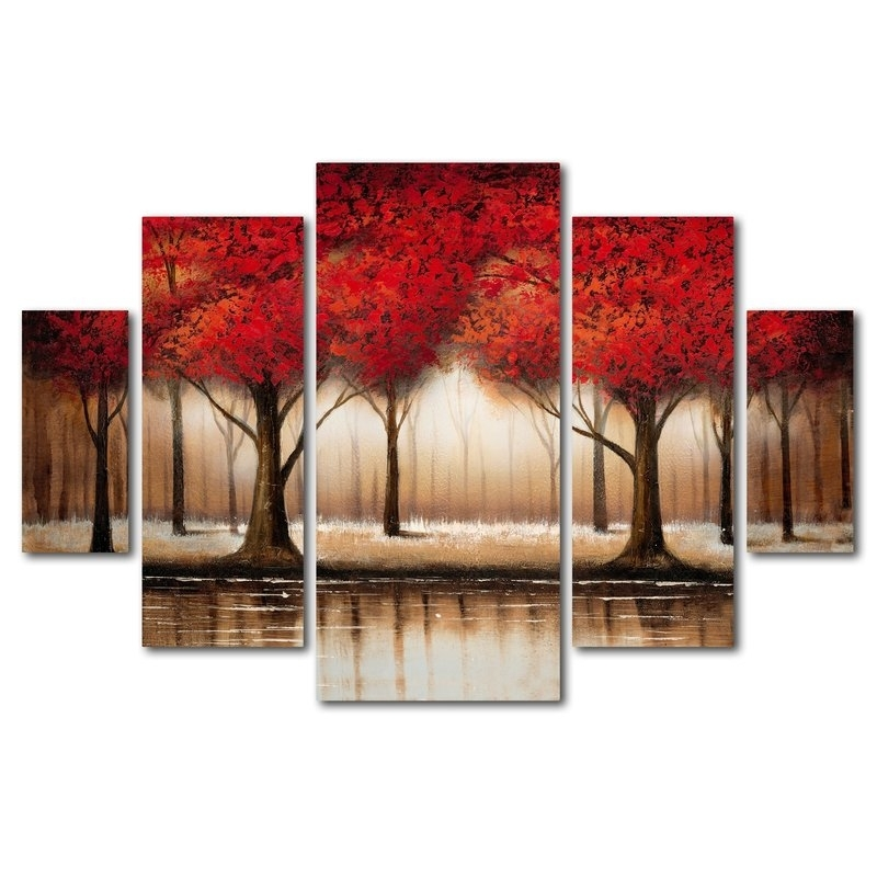 Trademark Art Parade Of Red Treesrio Framed 5 Piece Set On Within Canvas Wall Art At Wayfair (Image 10 of 15)