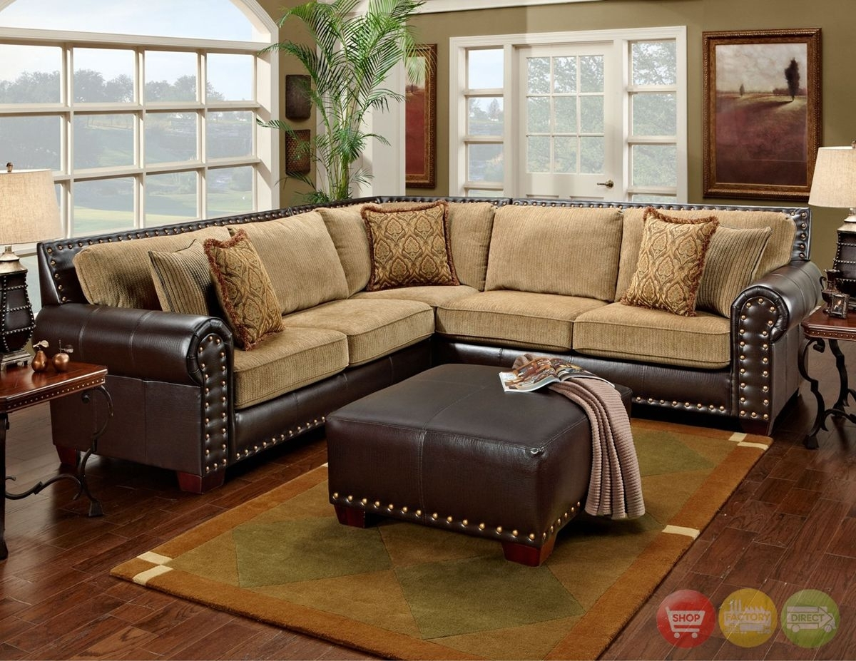 Traditional Brown & Tan Sectional Sofa W/ Nailhead Accents 650 17 Pertaining To Sectional Sofas With Nailheads (View 4 of 10)