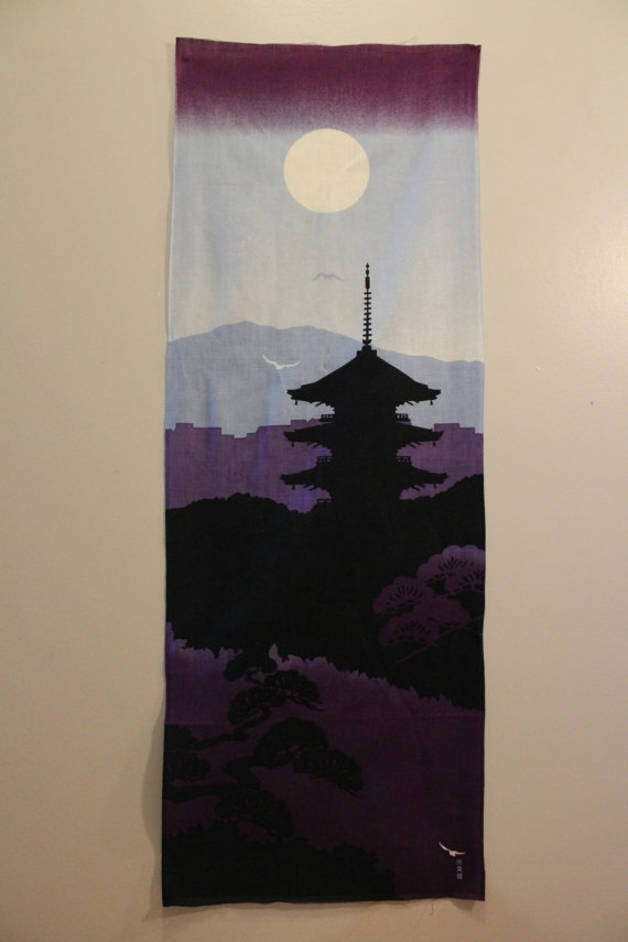 Traditional Hand Dyed Japanese Fabric Picture Made Of Cotton For Japanese Fabric Wall Art (Image 14 of 15)