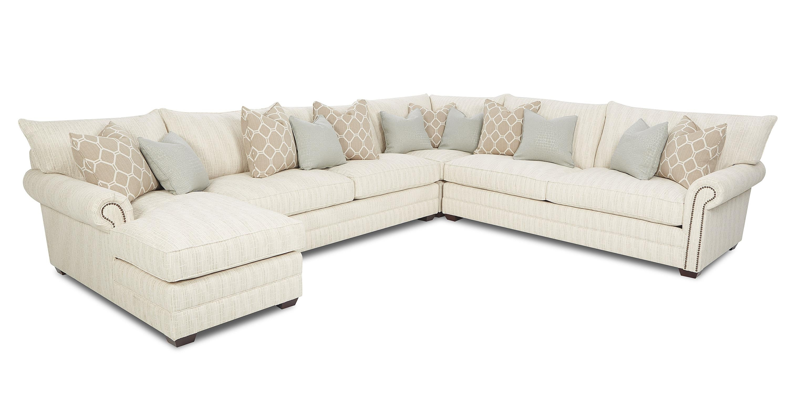 Traditional Sectional Sofa With Nailhead Trim And Chaise Lounge With Regard To Sectional Sofas With Nailheads (Image 9 of 10)