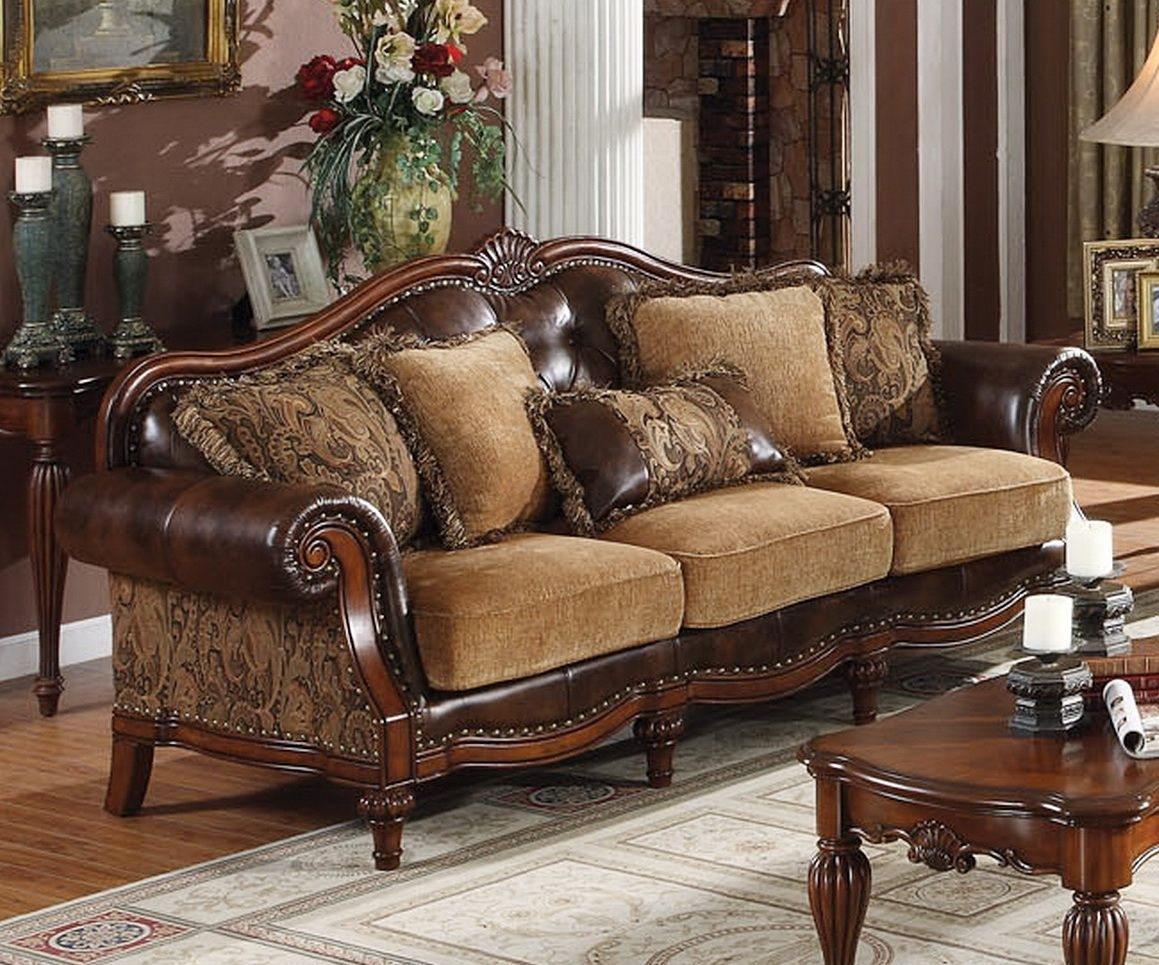 Traditional Sofas | Dreena Traditional Bonded Leather And Chenille Regarding Traditional Sofas (Image 10 of 10)