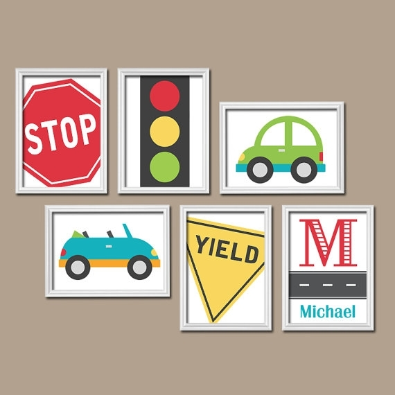 Transportation Cars Road Sign Custom Personalized Boy Name With Regard To Cars Theme Canvas Wall Art (View 3 of 16)