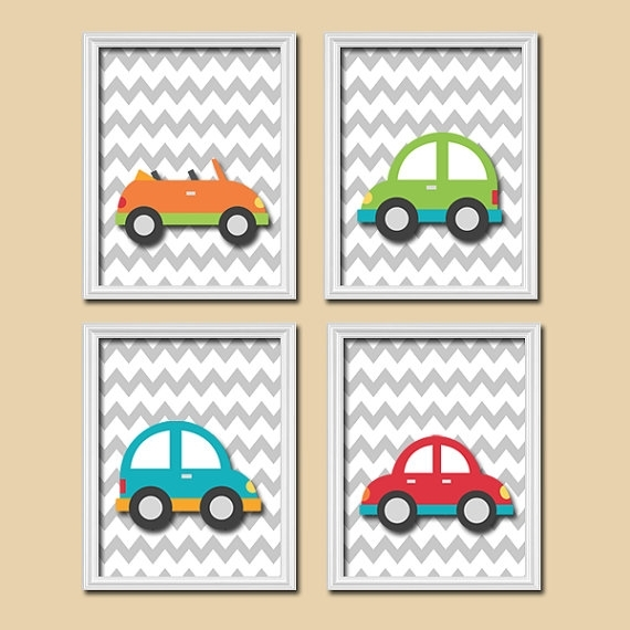 Transportation Wall Art City Theme Cars Baby Nursery Decor Big Regarding Cars Theme Canvas Wall Art (View 12 of 16)