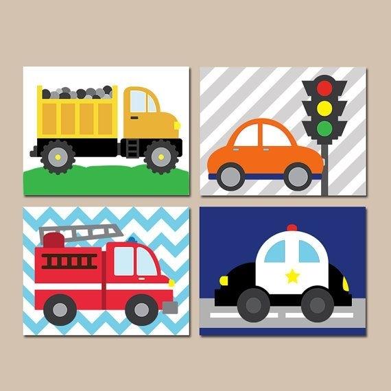 Transportation Wall Art  City Theme  Cars Baby Nursery Decor  Big With Cars Theme Canvas Wall Art (Image 15 of 16)