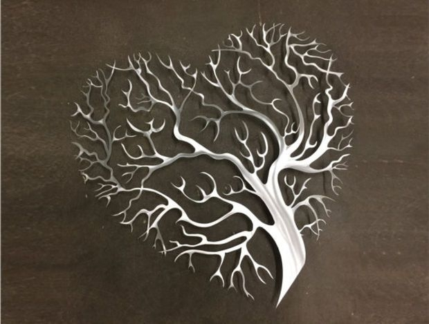 Tree Heart Metal Wall Art – Tree Metal Wall Art – Abstract Wall In Abstract Leaf Metal Wall Art (Image 13 of 15)