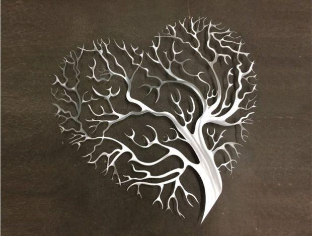 Tree Heart Metal Wall Art – Tree Metal Wall Art – Abstract Wall In Abstract Leaf Metal Wall Art (View 10 of 15)